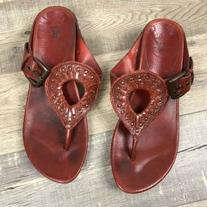 FRYE   Red Leather Thong Sandal Brass Accents 8B